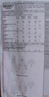 McCalls Pattern 5957 Full Length Cape Hooded Mens Womens s M L XL