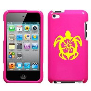 APPLE IPOD TOUCH ITOUCH 4 4TH YELLOW TURTLE ON A PINK HARD