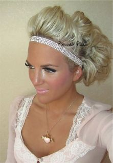 Four 4 Row Glass Crystal Rhinestone Diamante Silver Hair Head Band