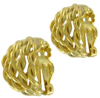 New Gold Tone Rope Hoop Clip on Earrings