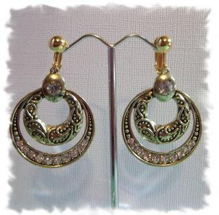 Clip on 1 5 Gold Tone Rhinestone Hoop Non Pierced Earrings J466