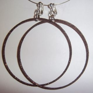 Clip on 3 25 Brown Glitter Thin Large Hoop Earrings J336 Juicebox