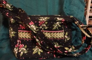 VERA BRADLEY NEW HOPE BLACK LILY OF THE VALLEY PINK RIBBON LITTLE