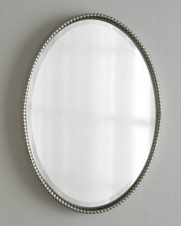 Horchow Sherise Silver Brushed Nickel Beaded Edge Oval Wall Mirror