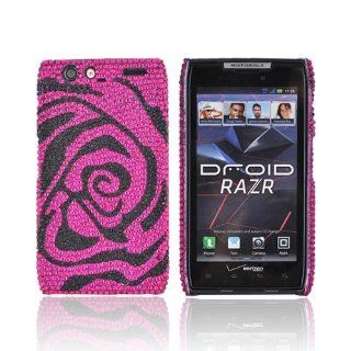 For Motorola Droid RAZR Bling Hot Pink Black Rose Gems