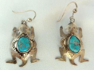 Vtg Southwest Horned Lizard Sterling Silver Turquoise Earrings Mike