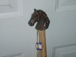 Walking Hiking Stick Ash Wood Cast Iron Horse Handle