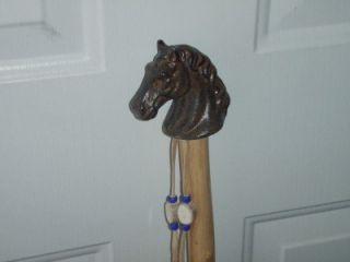 Walking Hiking Stick Ash Wood Cast Iron Horse Handle