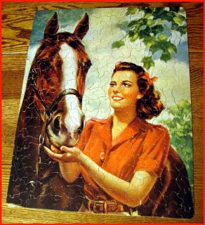 Guild Whitman 300 Piece Jigsaw Puzzle Complete Horse and Woman