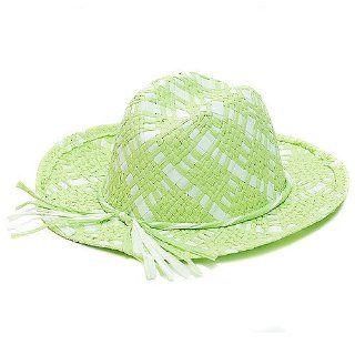 New Girls Green White Straw Cowgirl Hat Dress Up Sophias