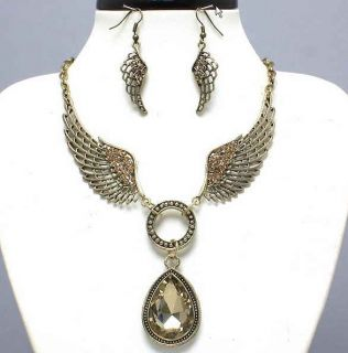 ANTIQUE Gold ANGEL WING Zebra Animal Print Horseshoe NECKLACE SET