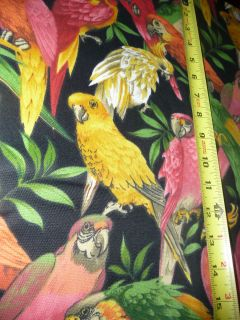 vintage PARROTS BIRDS TROPICAL JUNGLE CRANSTON PRINT FABRIC GREEN PINK