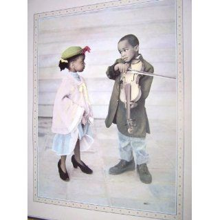 Large Lovely African American Boy Violinist & Girl Art