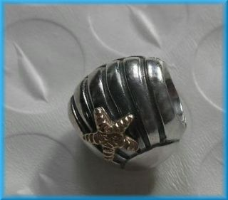 Authentic Pandora STERLING SILVER W/ 14K GOLD STARFISH ON SEA SHELL