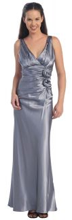 New Misses Long Silver Satin Roses Dress 2X Formal Sexy