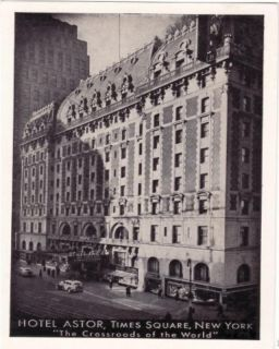 Hotel Astor Times Square New York City Postcard