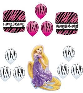 Hot Pink Zebra Stripe Birthday Party Supplies Tangled Black Balloons