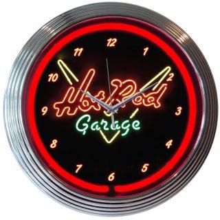 Hot Rod Car Garage shop neon clock sign wall lamp open gift mechanic
