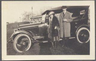 Car Photo Couple 1920 Nash w Houk Wire Wheels 652042