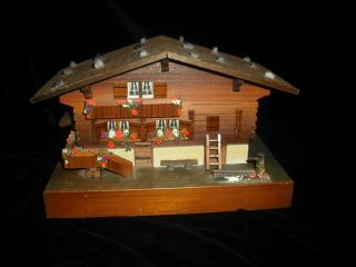 1960s Wooden House Music Box WOOD CABIN CHALET SWISS MUSIC JEWELRY BOX