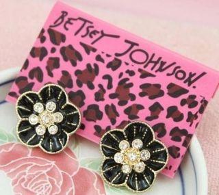Johnson Elegant Women Girl Retro Flora Flower Cystal Earring black