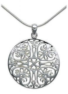 Sterling Silver Heart Pattern Filigree Round Circle Pendant Necklace