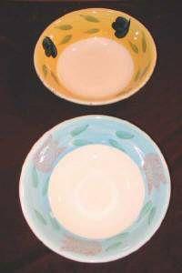 Vintage Fruit Bowl Ceramic Bowls Leaves Flowers Italy