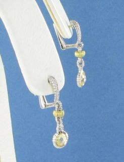 Judith Ripka Canary Crystal Dangle Earrings 925 Silver 18K Yellow Gold