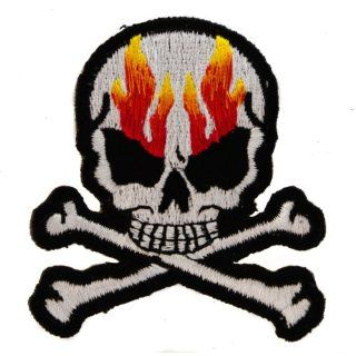 FLAMING SKULL CROSSBONES 3 inch Iron or Sew on BIKER Patch