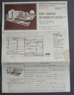 Howard Johnson Motor Rate Brochure Lauderdale by Sea