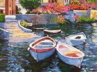Lake Como Landing Howard Behrens Artist Embellishd Canvas Boat Italy