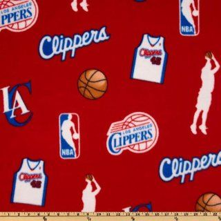 60 Wide NBA Fleece Los Angeles Clippers Toss Red Fabric