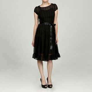 New Jessica Howard Womens Black Pleated Tie Belt Dress /Color Black
