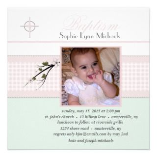 Spring Blossoms Collection Photo Baptism Invitatio Personalized