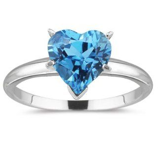 0.89 Cts Swiss Blue Topaz Solitaire Ring in 18K White Gold