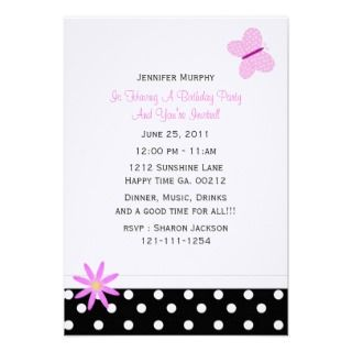 Pink Purple Butterfly Birthday Party Invitations, 332 Pink Purple