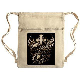 Messenger Bag Sack Pack Khaki God Is My Judge Skulls Cross
