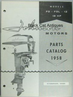 Johnson Motors Outboard Parts Catalog 18 HP Models FD FDL 12
