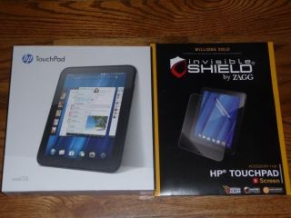 HP Touchpad 32GB WiFi Glossy Black Tablet w Zagg Invisible Shield ALL