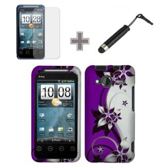 HTC Evo Shift 4G Sprint Rubberized Silver Purple Vine Hard Case Cover