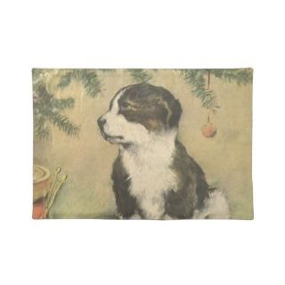 Vintage Christmas, Cute Puppy Under Christmas Tree Place Mats