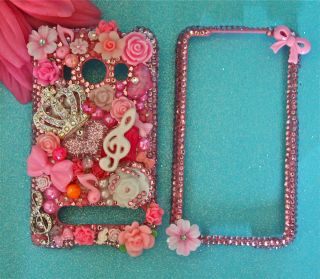 HTC EVO 4G PINK CRYSTAL JUICY CUTE BLING DECO 3D PHONE CASE COVER