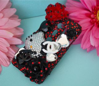 HTC EVO 3D Black RED CRYSTAL RHINESTONE BLING DECO PHONE CASE COVER