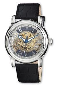 Mens Charles Hubert Black Leather Skeleton Automatic Watch XWA3216