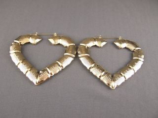 Gold tone Heart BIG Huge hoops bamboo earrings 3 3 8 door knocker hoop