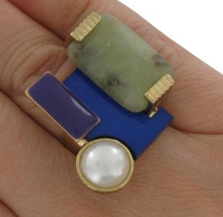 New Blue Purple Faux Pearl Green Stone Cocktail Ring