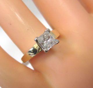 Off 95ct Single Large Princess Diamond 14k Gold Engagement Ring