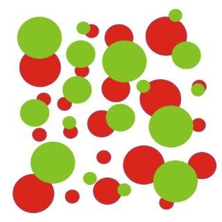 set of 106 Red and Lime Green polka dots Vinyl wall