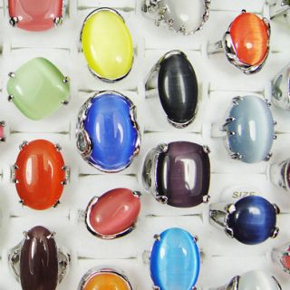 Wholesale Jewelry 20pcs Big Natural Cat Eye Stone Rings