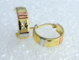 Tricolor 14k Gold Huggie Hoop Earrings